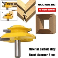45 Degree Lock Miter 8mm 0 31 Inch Shank Router Bit Carbide End Milling Cutter Tool