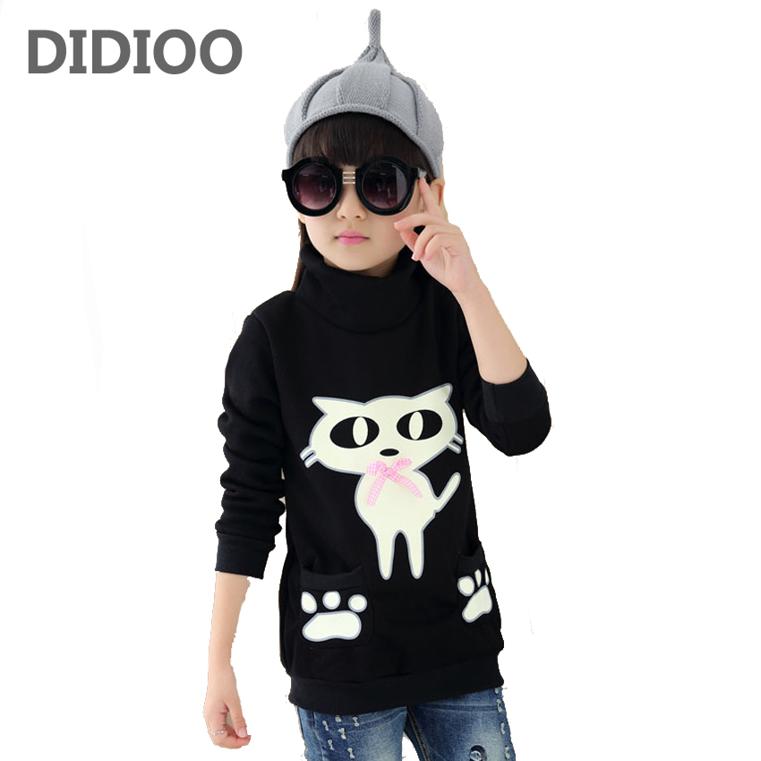 Girls Sweatshirts Cotton Letter T-Shirts For Girls Dresses Turtleneck Plus Velvet Bottoming Shirts Girls Clothing 4 6 8 10 12 Y cotton cartoon t shirts
