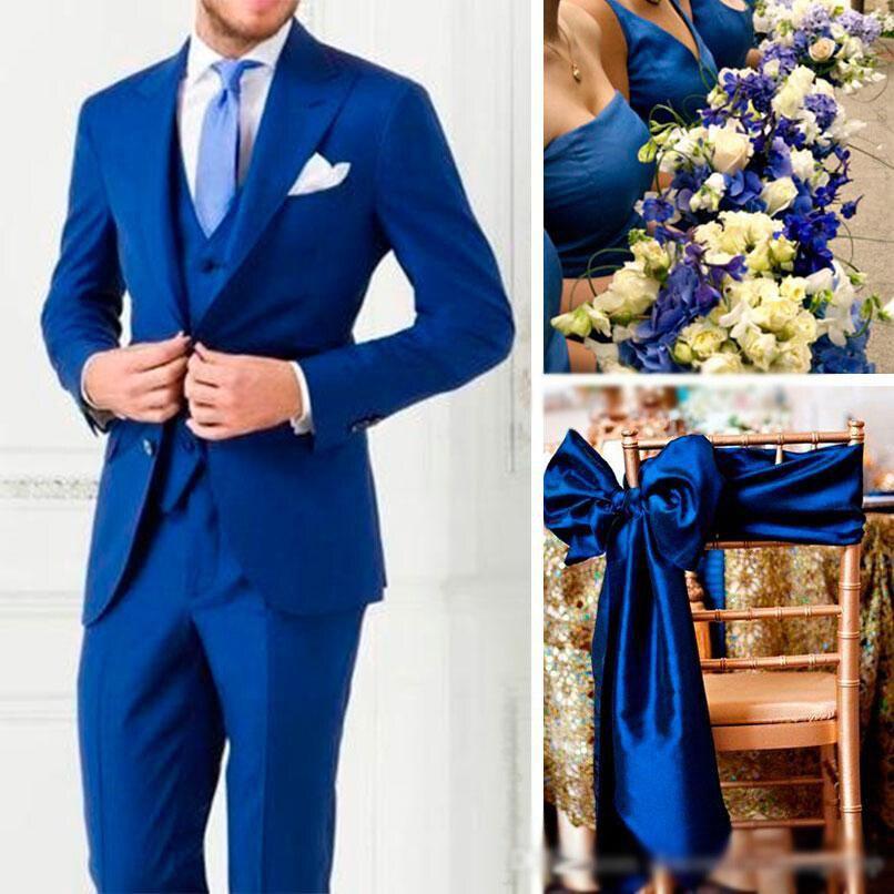 (Veste Pantalon Gilet) 2019 costumes hommes Personnalisé Slim Fit 3 Pièce Blazer Sur Mesure Marine costume de mariage Marié Groomman De Bal Parti Tuxedo