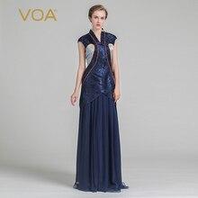 VOA 2017 Summer Navy Blue Vintage Chinese Style V-neck Slim Mermaid Long Dress Plus Size Silk Jacquard Women Maxi Dress ALX05601