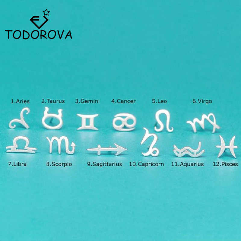 Todorova Stainless Steel Zodiac Sign Stars Stud Earrings for Men 12 Constellation Symbols Fashion Women Jewelry Birthday Gift