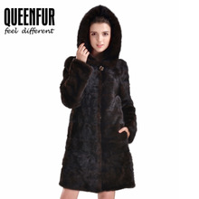 Fashion Women Real Mink Fur Coat With Big Hood Genuine Leather Long Jacket Top Luxury Female Natural Fur Long Sleeves Outwear