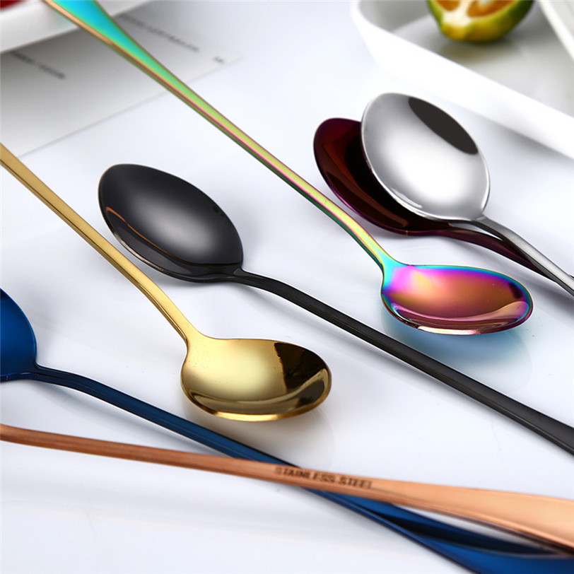 Spoon Flatware Kitchen-Gadget Coffee Long-Handle 410 Colorful Drinking-Tools Stainless-Steel