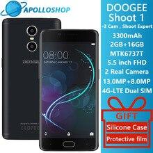 Doogee Shoot 1 lte мобильных телефонов двойного заднего камеры отпечатков пальцев 5.5 Inch FHD 2 ГБ + 16 ГБ Android 6.0 MTK6737T Quad Core 3300 мАч 2 SIM