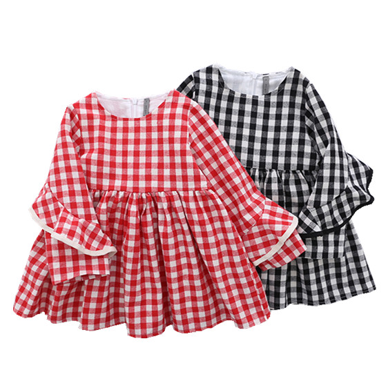 7793de81f37c Y Autumn Baby girl dress plaid ruffles kids dresses for girl ...