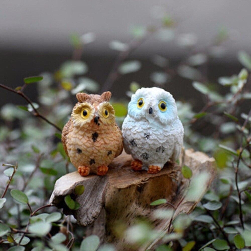 Fairy garden ornaments - 1pc Micro Owls Resin Miniatures Figurine Craft Bonsai Pots Home Fairy Garden Ornament Decoration Moss Terrarium