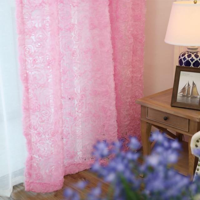 Pastorale Coreano Creativo Pizzo Bianco 3D Rosa Tende Rosa Voile Finestra Personalizzata Schermi Per Il Matrimonio Camera Da Letto Soggiorno wp148-40