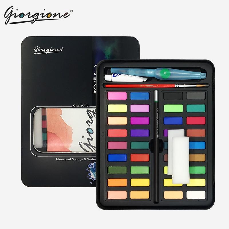 36 Portable Soild Watercolor Set With Water Brush Pen Professional Water Color Travel Set Watercolour Paints Artist Pigment