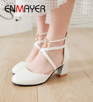 ENMAYER Mary Janes High Square Heel Shoes Woman Casual Zip Round Toe Shoes Woman High Heel Size 34 43 LY1658