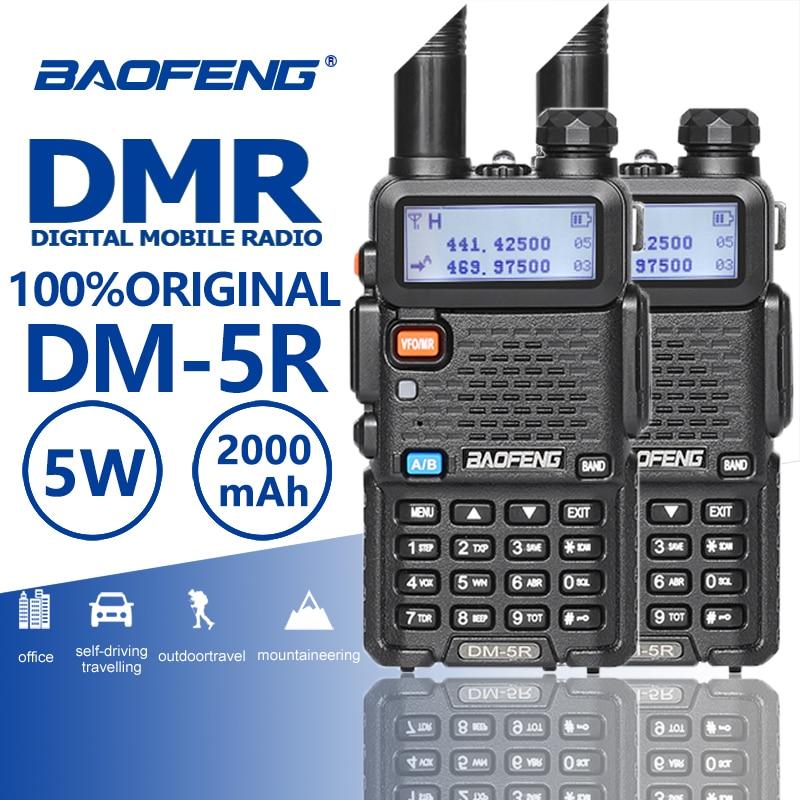 2 pièces Baofeng DM-5R Radios Numériques Portatiles Uhf Vhf DMR Talkie-walkie 10Km DMR Radio CB Émetteur-Récepteur Hf Baofeng Uv-5r Uv5r Plus
