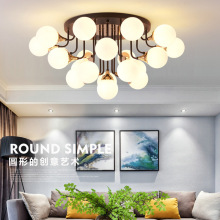 Postmodern LED Ceiling Lights Iron Glass Lights Living Room Ceiling lamps Nordic fixtures Bedroom lighting post modern living room ceiling lights creative nordic ceiling lamps led study fixtures warm master bedroom ceiling lighting