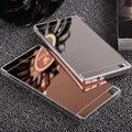 Hot! espelho de luxo galvanoplastia macio claro tpu volta chapeamento case capa para huawei p8/p8 lite rosa sacos de ouro para huawei