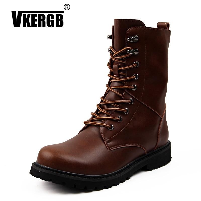 VKERGB Men Boots Handmade Brand Autumn Boots Fashion Men's Brand Leather Male Low Heels Boots Warm Plush Martin Split Leather