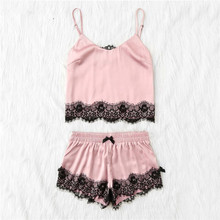 Europear Sexy 2018 New Summer For Womens Clothes Sets Ladies Pink Spaghetti Strap Lace Applique Satin
