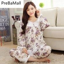 2019 new sweet cotton womens pajamas flower printing little Clothing Home Suit Sleepwear house Pajamas Woman Pyjamas C157
