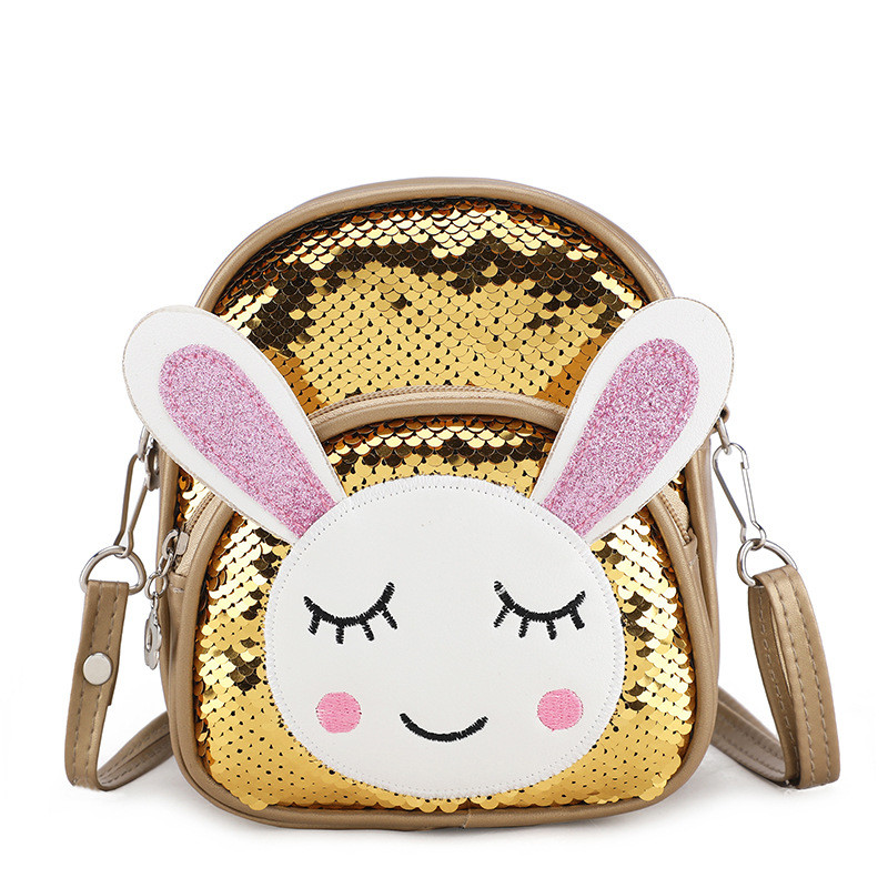 New Lovely Women Baby Girls Small School Backpack Crown Sequins Travel Cartoon Animal Print Rabbit Shoulder Bag Diaper Bags