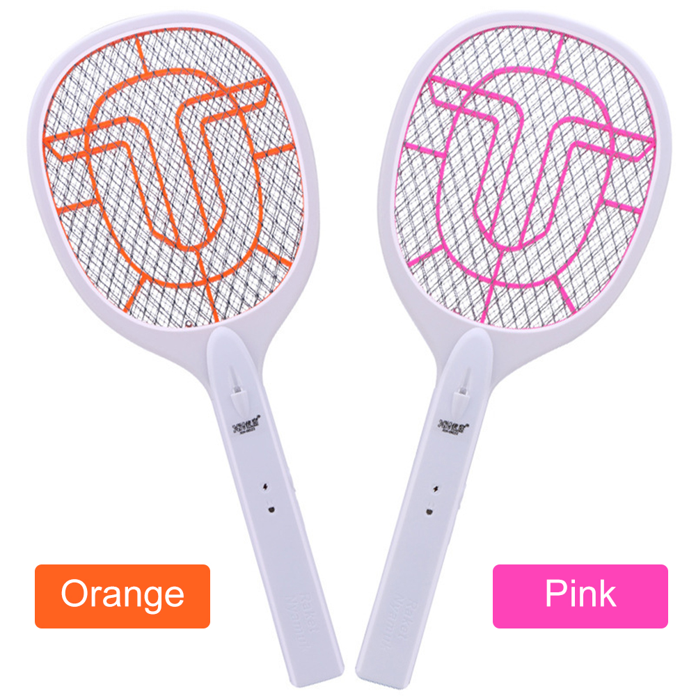 Orange/Pink Mosquito Swatter Killer USB Rechargeable Electric LED Light Tennis Bat Handheld Racket Insect Fly Bug