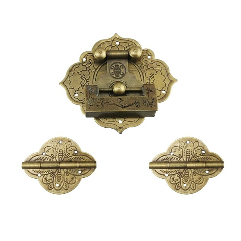 Wooden Jewelry Box Vase Buckle Latch Brass Lock,Decorative Hasp,1 Lock+2 Round Hinges,Vintage Antique Lock Set charm with lock buckle trumpet thickened wooden padlock hasp lock buckle buckle piece luggage accessories wooden doors