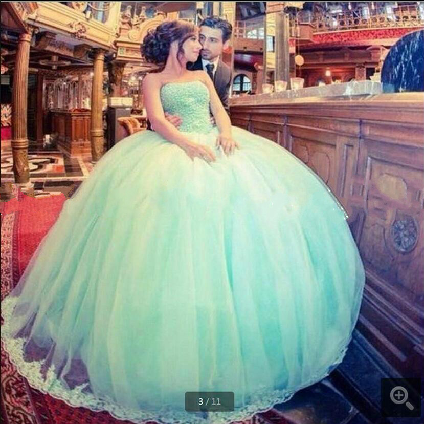 Free shipping ball gown sky blue beaded   prom     dress   lace appliques strapless sweetheart neck puffy   prom   gowns hot sale