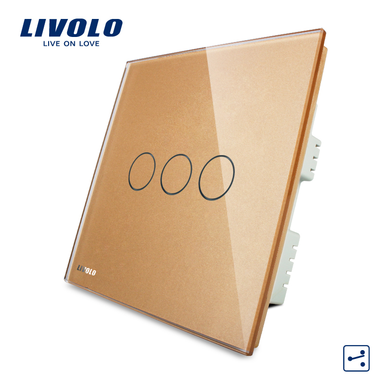 LIVOLO, Wall Switch, home automation 3-gang 2-way UK standard Touch Light Switch VL-C303S-63 Golden Crystal LED Glass Panel uk standard wireless switch luxury crystal glass panel 1 gang 1 way home light switch remote touch switch vl c301r 63