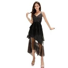 Summer V-neck Dress 2019 Women Maxi Dresses Sleeveless Wave Mesh Gauze Halter Back Sling Long