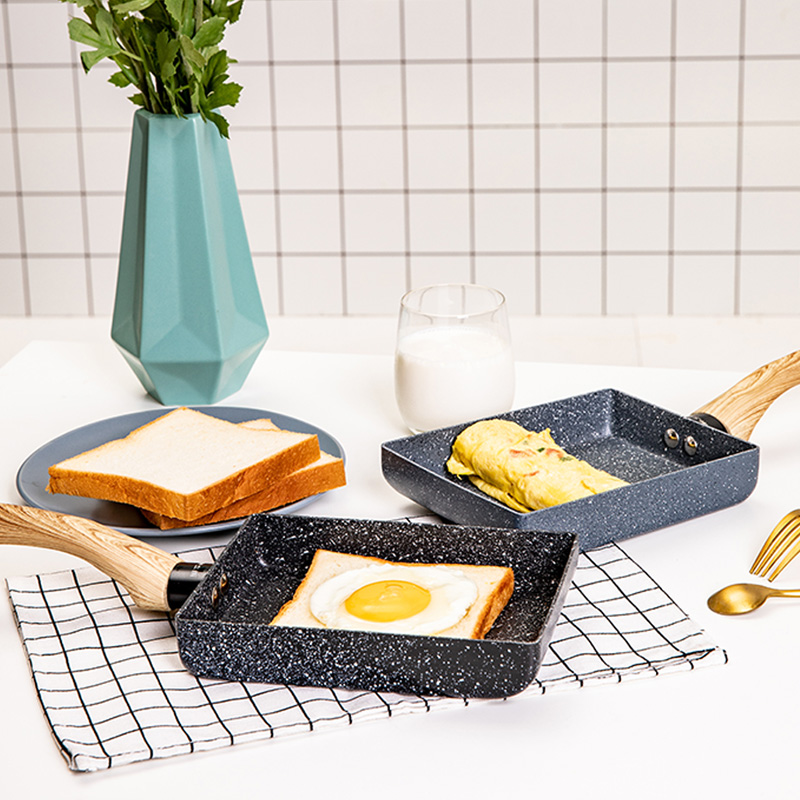 Frigideira tamagoyaki omelete preto antiaderente pan fritar ovo pan pancake panela de cozinha só uso para fogão a gás