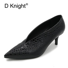 цена на Patent Leather Thick/Thin High Heels Shoes Women Pumps Sexy Pointed Toe Work Shoes Slip On High Heels Spring Footwear Big Size 9
