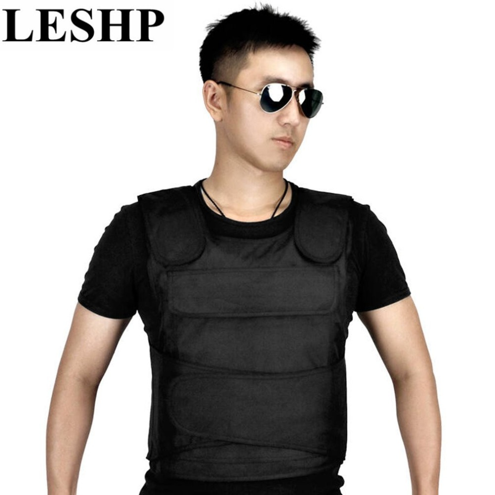 LESHP Breathable Tactical Vest Stab vests Anti Tool Self-Defense Service Equipment Outdoor Self-Defense Vest Supplies Black