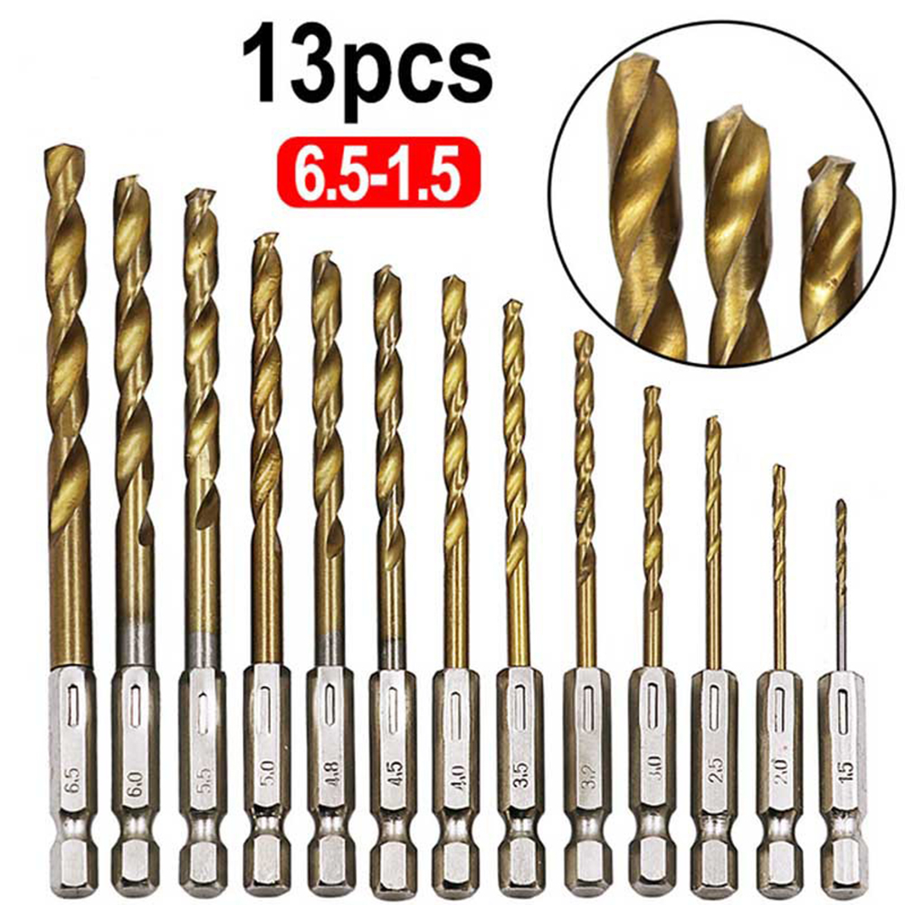 13Pcs 1/4 Hex Shank 1.5-6.5mm Drill Bits HSS High Speed Steel Titanium Coated Drill Bit Set Power Tools Accessories