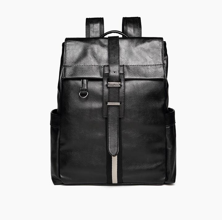 Casual Leather Drawstring Backpack PU Leather Men Backpack Cool Fashion College Teen Backpack Mochila Large Capacity Travel Bag