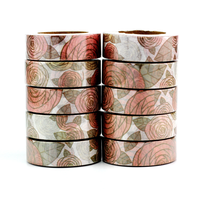 High Quality 10pcs/lot Floral And Leaves Washi Tapes DIY Decor Scrapbooking Planner Adhesive Masking Tape Kawaii Stationery