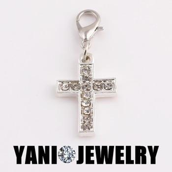 20 unids/lote, Envío Gratis, colgantes plateados con Cruz de cristal para hacer joyas, dijes para medallón de cristal