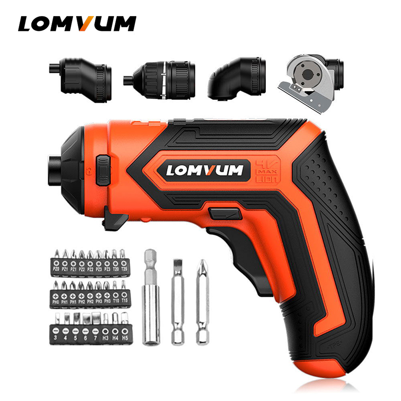 LOMVUM Mini Electric Screwdriver 4V Rechargeable Corldless Screwdriver Household Multi-function Electric Drill Power Tool Set цена