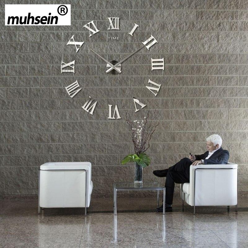 2018 muhsein Römischen Spiegel 3D echt große förderung wohnkultur große Quarz Uhren mode uhren moderne Freies Verschiffen