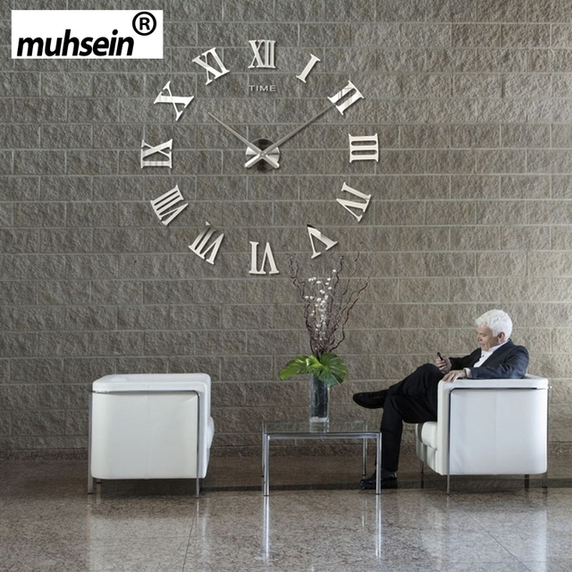 2019 muhsein Roman Mirror 3D real big promotion home decor large Quartz Clocks fashion watches  fashion modern Free Shipping