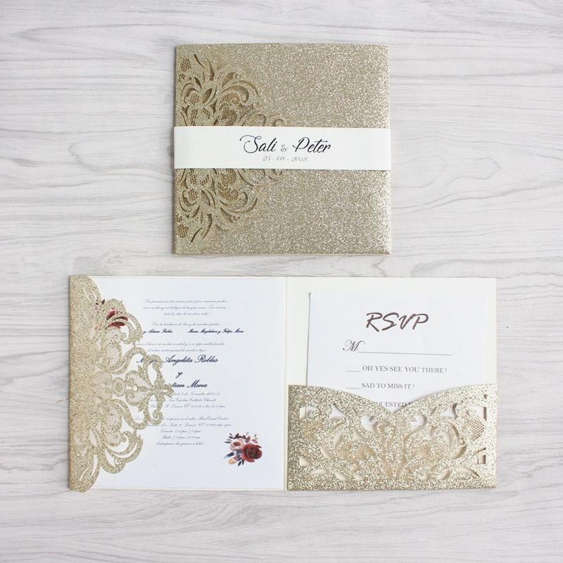 Us 48 0 Luxury Golden Wedding Invitation Set With Rsvp Envelop Belly Band Tri Fold Pocket Invites Wedding Decoration Supply Free Ship In Cards