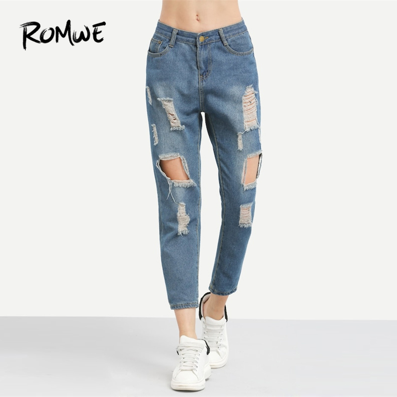 ROMWE Blue Ripped Distressed Boyfriend Ankle Denim Jeans Women Casual Summer Autumn Plain Straight Leg Pants Spring Trousers