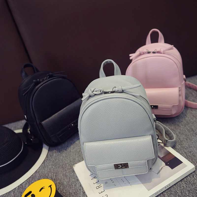 2019 Hot New Fashion Women Korean Solid Color Shoulder Bags Female Simple Mini Students School Backpacks Gray/pink/black/blue