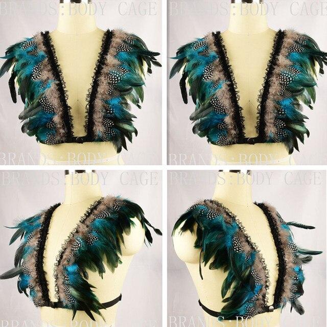 Bra pluma Iridiscente esmoquin de terciopelo pluma Charreteras Hombro Top Fetiche Bondage Goth Rave Wear boho gypsy festival lencería