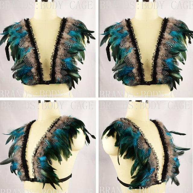 Feather Bra Iridescent velvet tuxedo feather Epaulettes Bondage Shoulder Top Fetish Rave Wear boho Goth festival gypsy lingerie