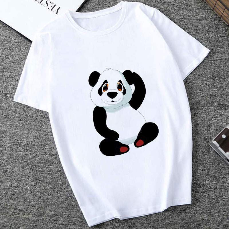 100% Cotton 2019 Summer T Shirts Women Streetwear Panda Printed Graphic Tees Women Tops Funny Vintage Casual T-shirts Top