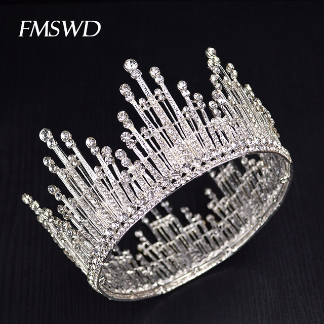 Vintage Gold Silver Color Luxury Rhinestone Pearl Large Tiara Queen Round Big Crown For Bride Wedding Hair Jewelry Accessories