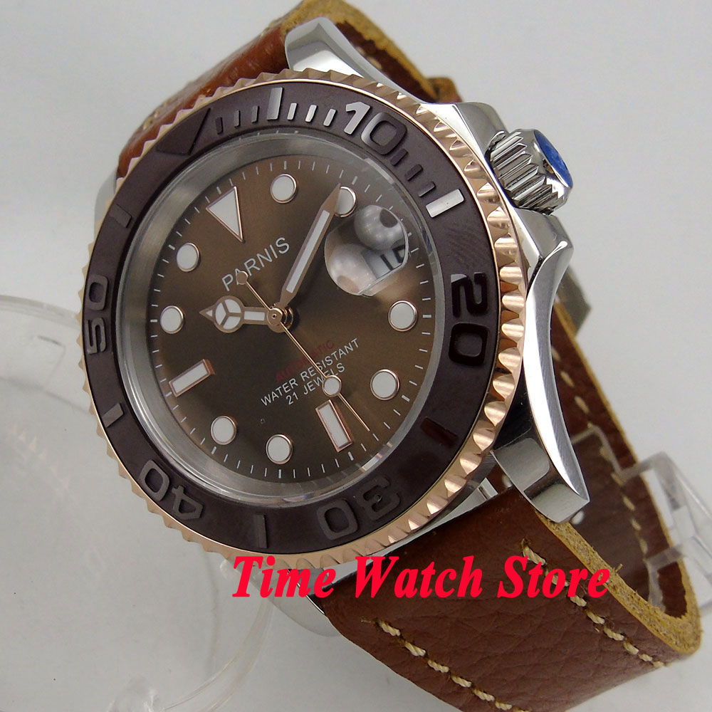 41mm Parnis brown dial Sapphire glass gold bezel date window 5ATM miyota automatic mens watch P88741mm Parnis brown dial Sapphire glass gold bezel date window 5ATM miyota automatic mens watch P887