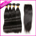 Malaysian Virgin Hair 4 Bundle with silk base Closure Human Hair with Closure 9A Peruvian Virgin Hair Straight with Silk Closure