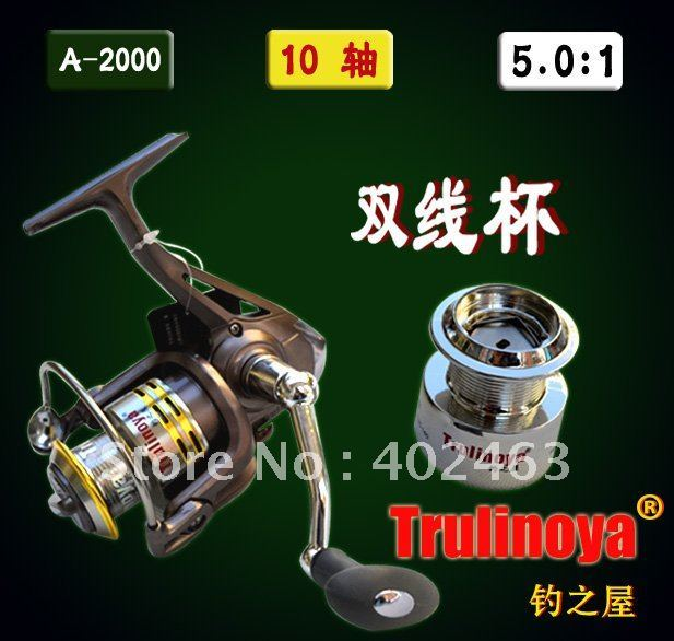 Spinning fishing reel Trulinoya A-2000F machined spool  Spare electroplating plastic spool 10precision Ball Bearing 5.0:1
