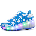 Popular Children Led Shoes Kids Glowing Sneakers With Wheels Boys Girls Light Up Roller Skate Shoes Stars tenis de rodinha