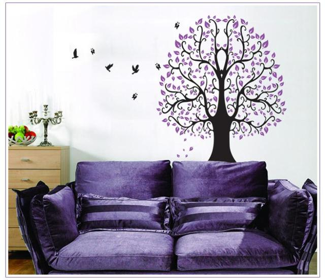 Purple Tree Birds Butterfly Wall Sticker Kids Room Bedroom Living Room Home  Decor 3d Vinyl