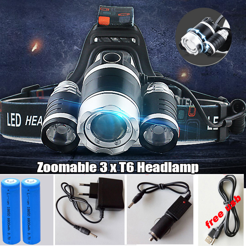 13000 Lumen Headlight LED CREE XML 3*T6 Zoom Headlamp X900 Flashlight Torch Head Lights Lamp +2*18650 Battery+AC/Car/USB Charger t6 xpe led head lamp 50w zoomable headlamp 5leds headlight tube torch led flashlight car charger 18650 batteries high lights