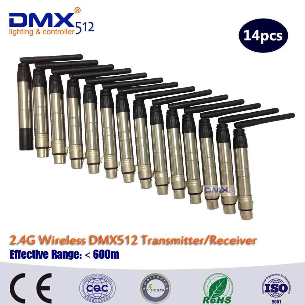 Dhl速い送料無料2.4グラムコントローラrgb dmx512ワイヤレス14ピース/ロット -