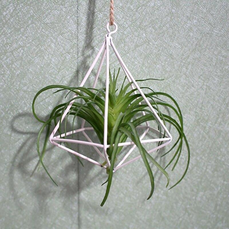 Bloempotten Plantenbakken Opknoping Tillandsia Lucht Planten Rack Rustieke Metalen Smeedijzeren Geometrische Himmeli Air Plant Holder